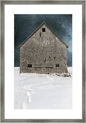 Old Barn In A Snow Storm Framed Print by Edward Fielding