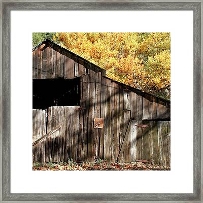 Old Barn In Autumn Framed Print by Art Block Collections