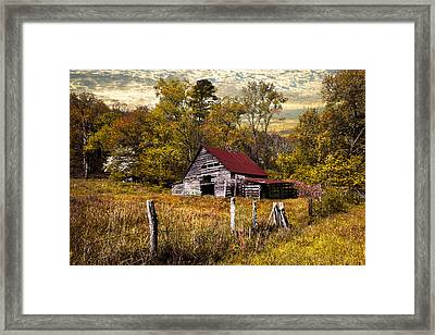 Old Barn In Autumn Framed Print by Debra and Dave Vanderlaan