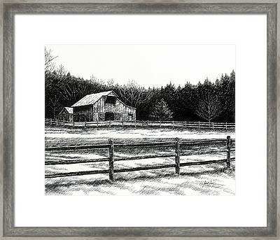 Framed Print featuring the drawing Old Barn In Franklin Tennessee by Janet King