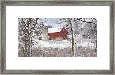 Old Barn In Snow Framed Print
