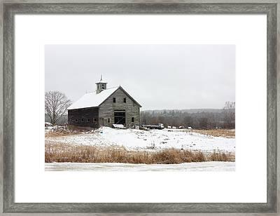 Old Barn In The Snow Framed Print by Benjamin Williamson