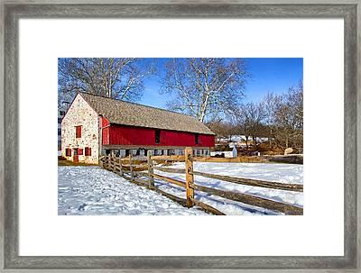 Old Barn In Winter Framed Print