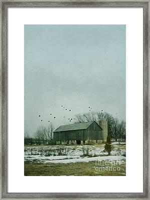 Old Barn In Winter Framed Print by Jill Battaglia