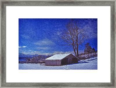 Framed Print featuring the digital art Old Barn In Winter by Richard Farrington
