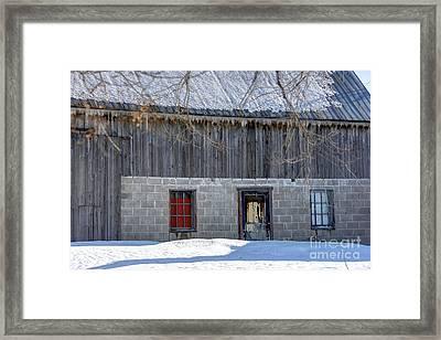 Old Barn In Winter Framed Print by Sophie Vigneault