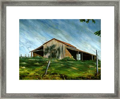 Old Barn Landscape Art Pleasant Hill Louisiana  Framed Print