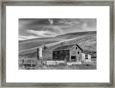 Framed Print featuring the photograph Old Barn Monochrome by Chris McKenna