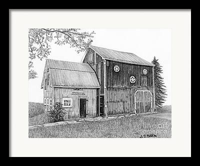 Old Barn Drawing Framed Prints