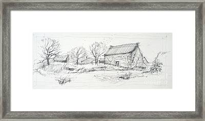 Old Barn Sketch Framed Print by Peut Etre