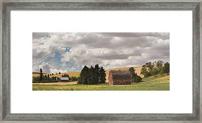 Old Barn Under Cloudy Sky, Palouse Framed Print by Panoramic Images