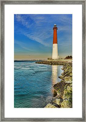 Framed Print featuring the photograph Old Barney At Sunrise - Barnegat Lighthouse by Lee Dos Santos