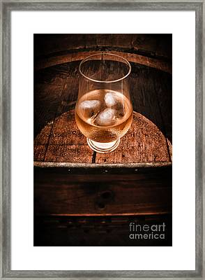 Old Barrel Top Glass Of Hard Liquor Framed Print by Jorgo Photography - Wall Art Gallery