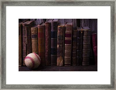 Old Baseball And Books Framed Print by Garry Gay
