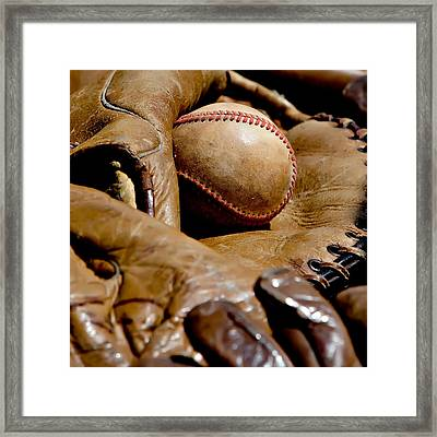 Old Baseball Ball And Gloves Framed Print