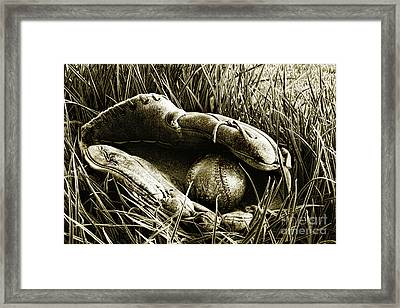 Old Baseball Glove With Ball In The Grass Framed Print by Sandra Cunningham