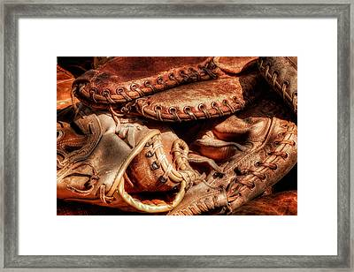 Old Baseball Gloves Framed Print by Bill Wakeley