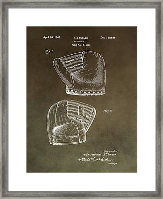 Old Baseball Mitt Patent Framed Print by Dan Sproul