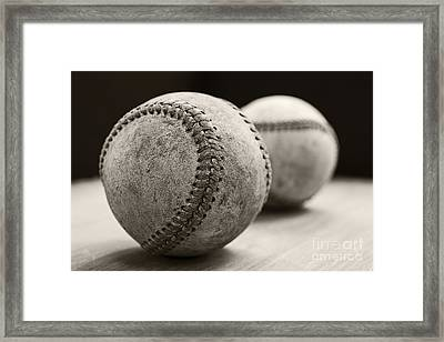 Old Baseballs Framed Print by Edward Fielding