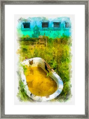 Old Bathtub Near Painted Barn Framed Print