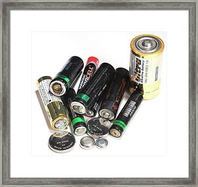 Old Batteries Framed Print