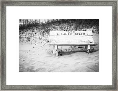 Old Beach Bench Framed Print
