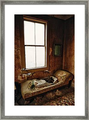 Old Bedroom Chaise In Abandoned Mining Town Home Framed Print