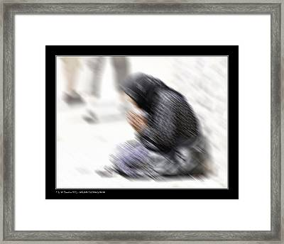Framed Print featuring the photograph Old Beggar Woman by Pedro L Gili