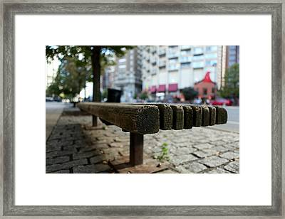 Framed Print featuring the photograph Old Bench In Philadelphia by Dorin Adrian Berbier