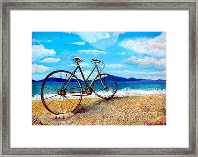 Old Bike At The Beach Framed Print by Kostas Koutsoukanidis