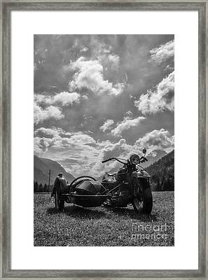 Old Bike In Black And White Framed Print by Fabian Roessler