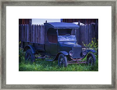 Old Black Ford Truck Framed Print by Garry Gay