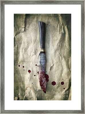 Old Bloody Knife Framed Print by Carlos Caetano
