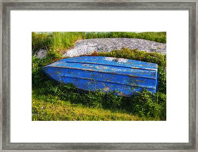 Old Blue Boat Framed Print by Garry Gay