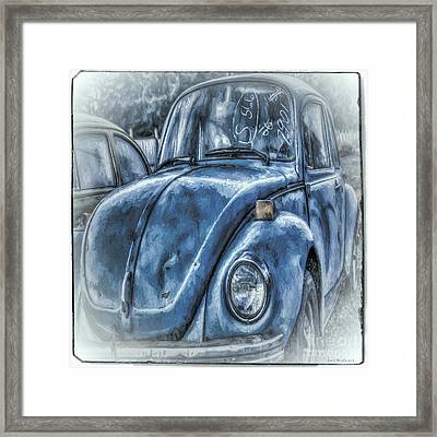 Framed Print featuring the photograph Old Blue Bug by Jean OKeeffe Macro Abundance Art