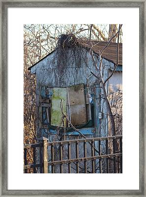 Old Blue Shack Framed Print by Tom Gari Gallery-Three-Photography