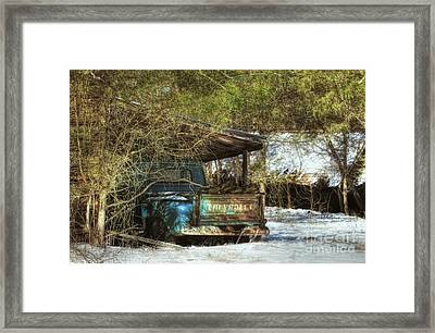 Old Blue Tucked Away Framed Print by Benanne Stiens