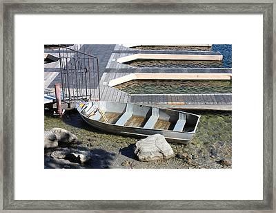 Old Boat And Dock Framed Print