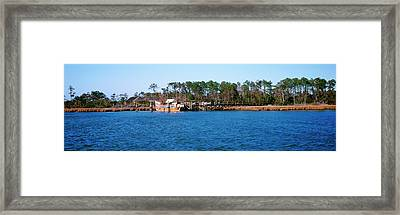 Old Boat At Coast, Roanoke Marshes Framed Print by Panoramic Images