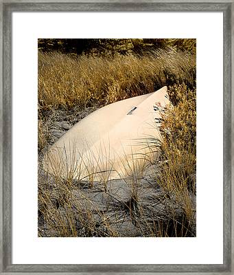 Old Boat In Dune Grass Framed Print