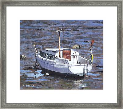 Old Boat On River Mudflats 1 Framed Print by Martin Davey