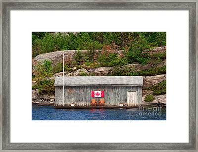 Old Boathouse With Two Muskoka Chairs Framed Print