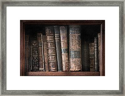 Old Books On The Shelf - 19th Century Library Framed Print by Gary Heller