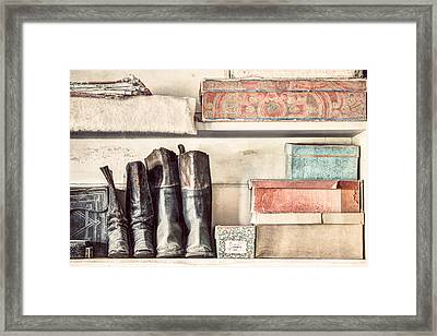 Old Boots And Boxes - On The Shelves Of A 19th Century General Store Framed Print by Gary Heller