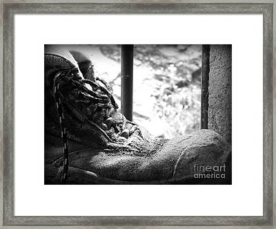 Framed Print featuring the photograph Old Boots by Clare Bevan