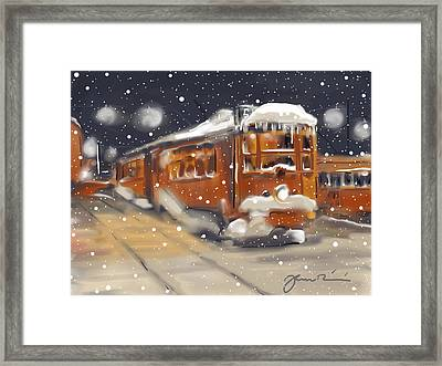 Old Boston Trolley In The Snow Framed Print by Jean Pacheco Ravinski