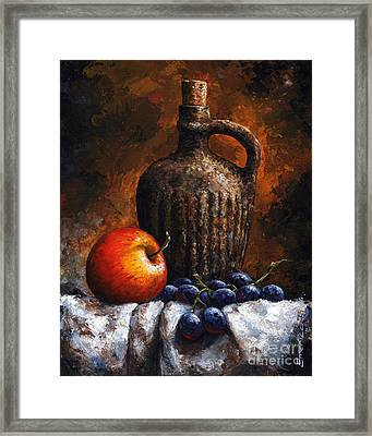 Old Bottle And Fruit Framed Print
