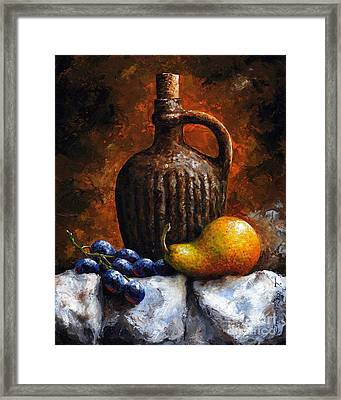 Old Bottle And Fruit II Framed Print by Emerico Imre Toth