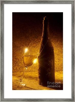 Old Bottle Of  Wine With A Glass Framed Print by Bernard Jaubert