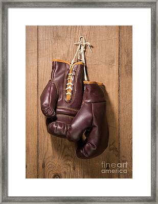 Old Boxing Gloves Framed Print by Danny Smythe